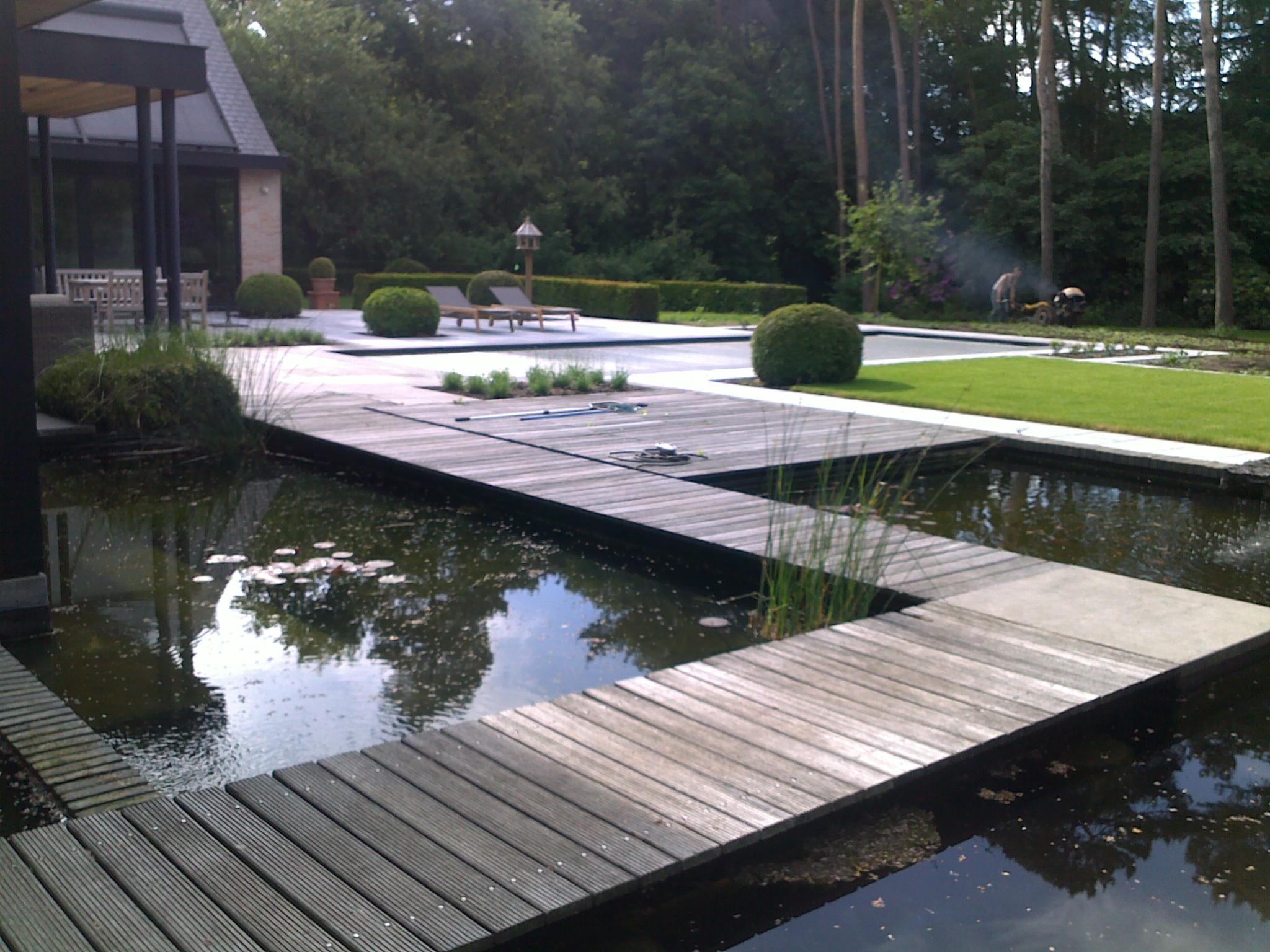 vijver met zicht op zwembad