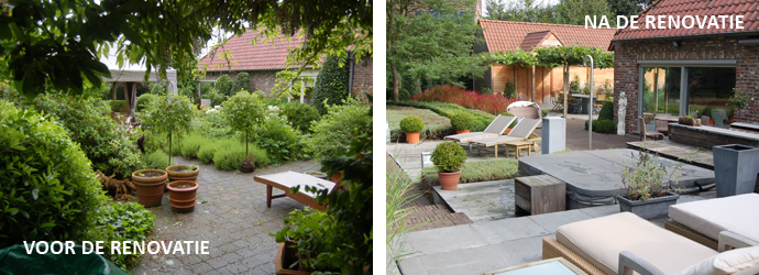 Dezelfde tuin, vanuit dezelfde hoek, voor en na de renovatie